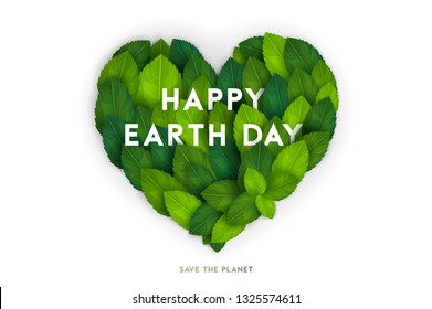 Happy Earth Day card, banner or flyer concept. Bright fresh 3d realistic green leaves in heart shape isolated on white background. Vector illustration