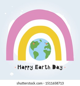 Happy Earth Day - cute greeting card design with Planet and Rainbow. Blue planet - vector cartoon illustration.