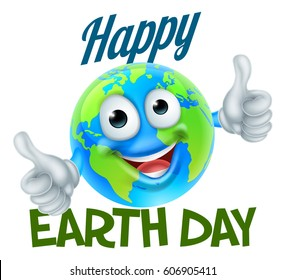 A Happy Earth Day design with a world globe cartoon character