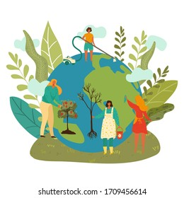 Happy earth day, green planet enviroment, people planting trees, cleaning globe ecology flat isolated vector illustration. Blue earth protection and ecological concept, eco bio life on continents.