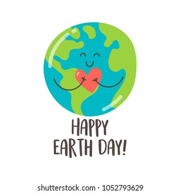 Happy Earth Day greeting card with cute cartoon Earth. Vector illustration.