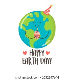 Happy Earth Day greeting card with cute cartoon Earth holding birthday cupcake. Vector illustration.
