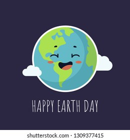 Happy Earth Day greeting card with cute cartoon Earth with kawaii face and white clouds around. Vector illustration clip art