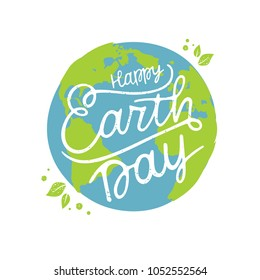 Happy Earth Day handwritten lettering with the globe on a blue background. Happy Earth Day  typography vector design for greeting cards and poster. Design template celebration. Vector illustration.