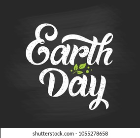 Happy Earth Day handwritten lettering  on a black background. Happy Earth Day  typography vector design for greeting cards and poster. Design template celebration. Vector illustration.