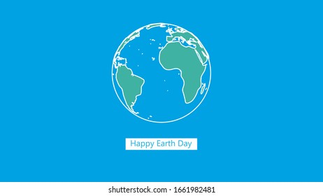 Happy Earth Day illustration with planet and lettering.  Flat style outline simple  vector illustration for banner, poster or greeting card.World map background on april 22 environment concept.