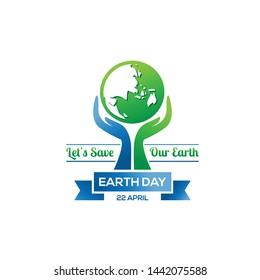 Happy Earth Day logo design.Earth globe symbol with hands, isolated on a white background. Vector Earth Day card