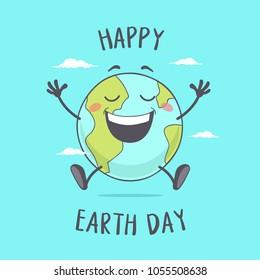 Happy Earth Day. Planet Earth Cartoon Character.