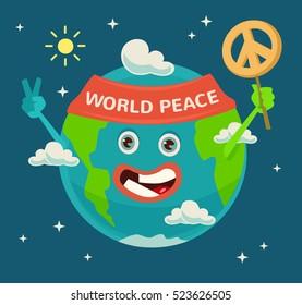 Happy Earth Day. Planet character. World Peace. Vector flat cartoon illustration