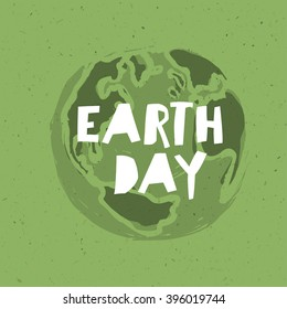 Happy Earth Day Poster. Symbolic Earth illustration on the green toned recycled paper texture.