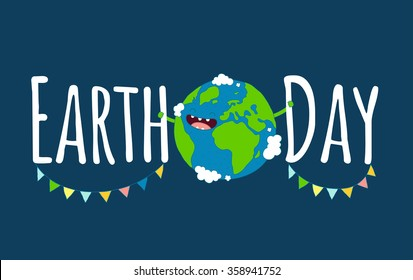 Happy Earth day poster. Vector illustration.