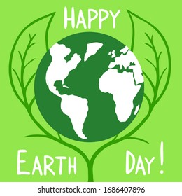 Happy Earth Day. Vector cartoon Illustration. Ecology. Earth in green leaves.