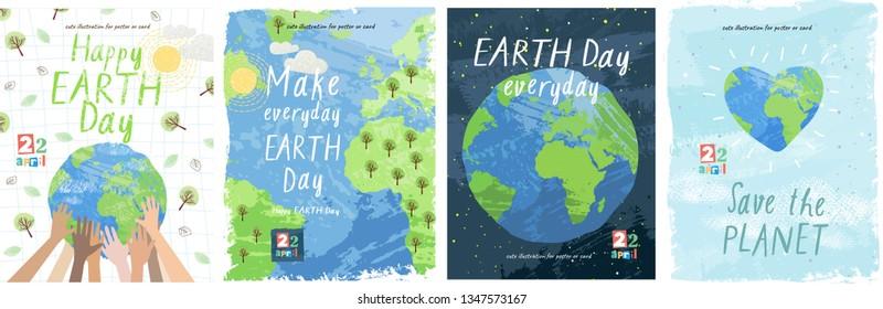 С Днем Земли! Векторная эко иллюстрация для социального плаката, баннера или карты на тему спасения планеты. Сделайте ежедневный день земли