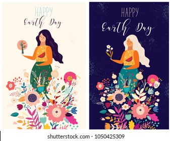 Happy Earth Day Vector template with woman and bouquet of flowers. Banner templates, poster, greeting cards
