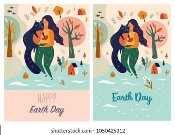 Happy Earth Day Vector template with woman and cat
