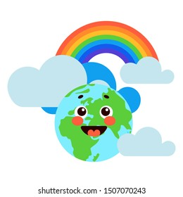 happy earth planet with clouds and rainbow white background