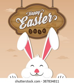 Happy easter 2016 and smiling rabbit. Vector illustration