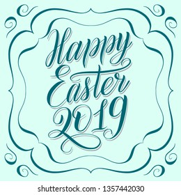 Happy Easter 2019. Greeting card with calligraphic cursive and decorative frame. Mint green color, script lettering with shadow effect, symmetrical ornament, vintage style. Holiday vector illustration