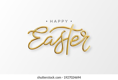 Happy Easter 3d golden lettering inscription. Vector Easter decorative gold calligraphy.