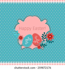Happy Easter abstract background with hand draw elements. Vector illustration