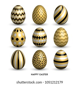 Happy Easter background with 9 realistic golden shine decorated eggs set. Vector illustration collection. Perfect for holiday greeting card, ad, promotion, poster, flyer, web-banner, article, sale