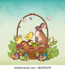 Happy Easter Background! Easter bunny. Retro vintage illustration with easter bunny, easter rabbit,  eggs, chicks, sitting in a basket. Vector colored sketch.