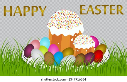 Happy Easter background card with cake and eggs. the illustration on the Passover with Easter cakes and eggs and cherry branch