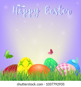 Happy Easter background with colorful decorated eggs, vector illustration eps10