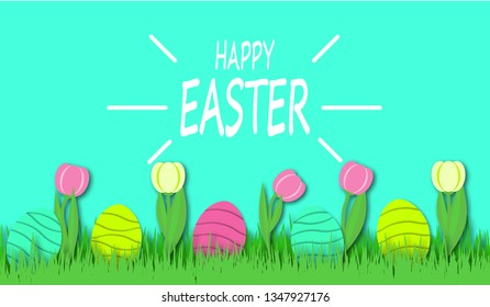 Happy Easter background with colorful eggs and tulips in bright green grass. Festive decoration. 3D vector, paper cut style