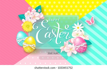 Happy Easter background with colorful eggs,flowers and butterfly. Egg hunt. Vector illustration. Design layout for invitation, card, menu, banner, poster, voucher.