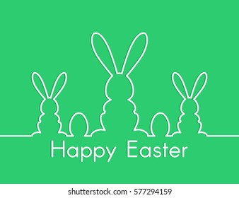 happy easter background design with line bunny silhouette