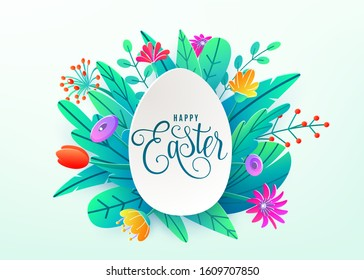 Happy easter background isolated on white. Holiday greeting in paper cut 3d origami style with egg and minimalistic flat color flowers. Vector illustration. Place for your greeting text.