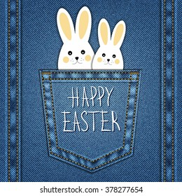 Happy Easter Background on denim texture.