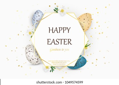 Happy Easter background with realistic decorated quail Easter eggs. Decorative frame with eggs, spring flowers, grass. Design template for Banner, flyer, invitation, greeting card,poster. vector