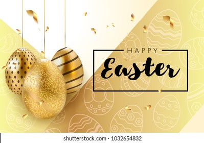 Happy Easter background with realistic golden shine decorated eggs, confetti and doodles. Invitation Vector illustration greeting card, ad, promotion, poster, flyer, web-banner, article, social media