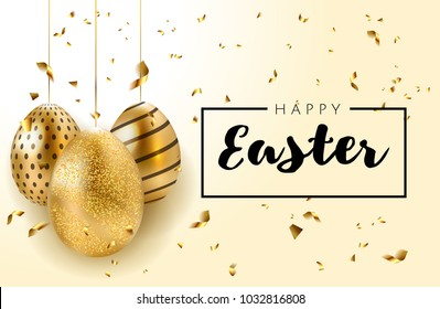 Happy Easter background with realistic golden shine decorated eggs and confetti. Invitation template Vector illustration greeting card, ad, promotion, poster, flyer, web-banner, article, social media