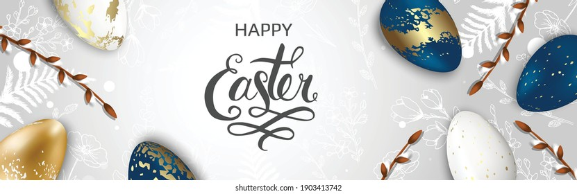 Happy Easter background with realistic golden shine decorated eggs, Willow, rabbit. Vector illustration greeting card, ad, promotion, poster, flyer, web-banner.