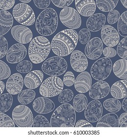 Happy Easter background seamless pattern with eggs hand drawn blue and beige with ornaments of flowers, leaves and  Mandala elements. Vector illustration.