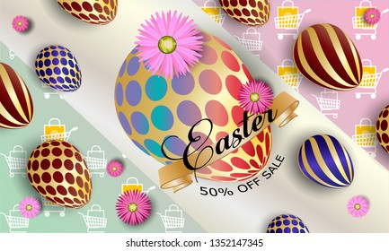 Happy easter background template with beautiful flowers, ribbon and eggs. Greeting Card. Vector illustration - Images vectorielles