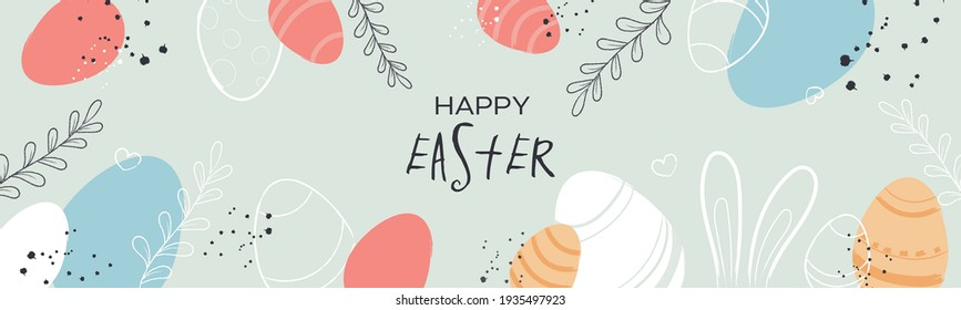 Happy Easter background. Trendy Easter design with typography, hand drawn strokes and dots, eggs. Modern minimalistic style. Horizontal background, header for website
