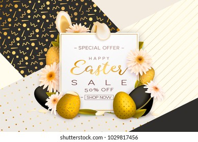 happy easter paper art background trendy stock vector royalty free