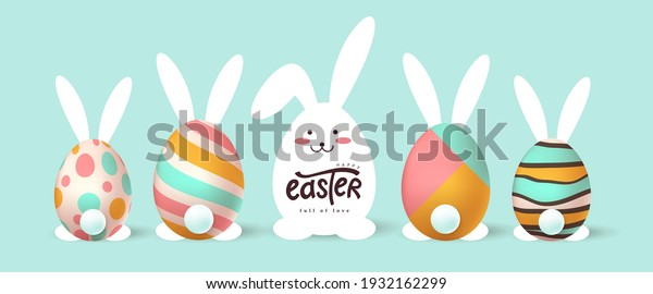 Happy easter banner background. Easter bunny and egg