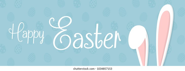 Happy Easter - banner with bunny and greetings. Vector.
