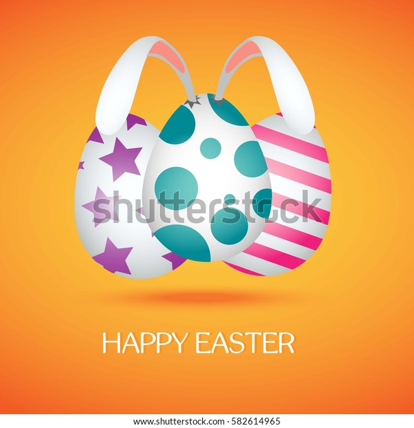 Happy Easter banner with colorful eggs and bunny ears on orange background. Vector illustration