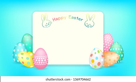 Happy Easter banner with copy space and Easter eggs illustration vector