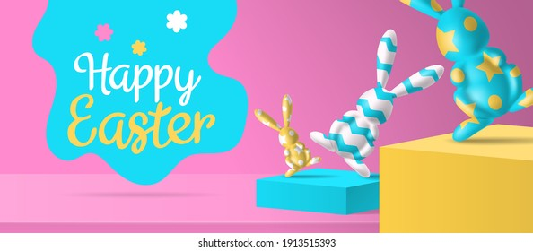 happy easter banner design  3d   decorated bunny figures on podiums  vector illustration