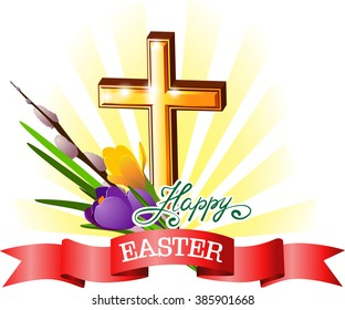Happy Easter banner with gold cross.