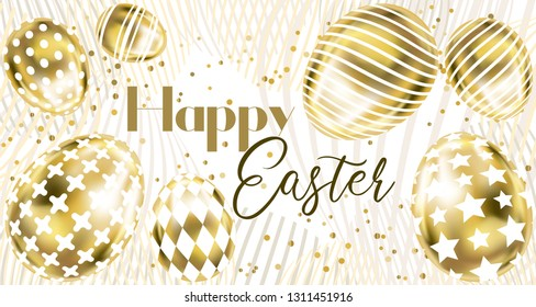 Happy Easter banner with golden eggs and confetti on the white background