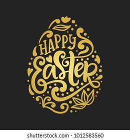 Happy Easter banner, greeting card template. Golden egg design element with handwritten doodle lettering inscription. Modern calligraphy. Vector illustration