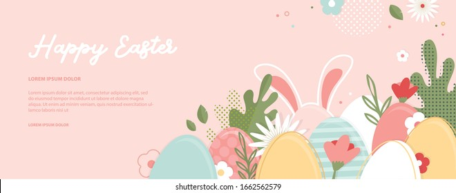 Happy Easter banner. Greeting card, poster or banner with bunny, flowers and Easter egg. Egg hunt poster. Spring background